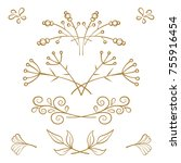 set of hand drawn floral... | Shutterstock .eps vector #755916454