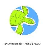 turtle sticker vector...   Shutterstock .eps vector #755917600