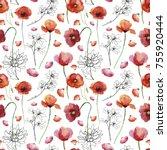 poppy flowers. seamless... | Shutterstock . vector #755920444