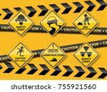 set of warning caution sign on... | Shutterstock .eps vector #755921560