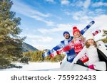 happy family travel by car.... | Shutterstock . vector #755922433