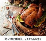 roast chicken or turkey for... | Shutterstock . vector #755923069