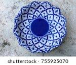 thai pattern  ceramic plate ...   Shutterstock . vector #755925070