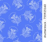 seamless floral pattern with... | Shutterstock .eps vector #755925160