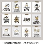 set of new year and christmas... | Shutterstock .eps vector #755928844