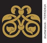 arabic floral frame.... | Shutterstock .eps vector #755932414