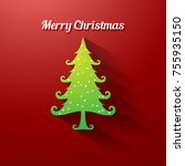 vector christmas tree flat icon ... | Shutterstock .eps vector #755935150