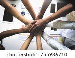top view of business people... | Shutterstock . vector #755936710