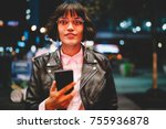 portrait of attractive hipster... | Shutterstock . vector #755936878