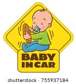 baby in car. funny small child... | Shutterstock .eps vector #755937184
