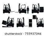 electric forklift. vector... | Shutterstock .eps vector #755937346