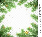 christmas holiday greeting card ... | Shutterstock .eps vector #755942428