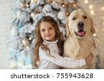 little cute girl with a golden... | Shutterstock . vector #755943628