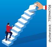 ladder to success | Shutterstock .eps vector #755944708
