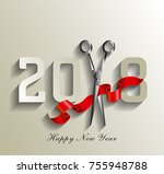 2018 for hairdresser  happy new ... | Shutterstock .eps vector #755948788