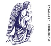 angel prays on his knees... | Shutterstock .eps vector #755949526