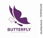 abstract butterfly logo... | Shutterstock .eps vector #755950150