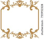 golden vintage border frame... | Shutterstock .eps vector #755952328