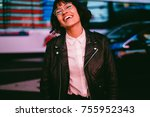 cheerful hipster girl in... | Shutterstock . vector #755952343