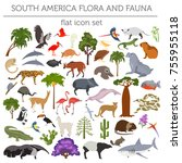 south america flora and fauna... | Shutterstock .eps vector #755955118