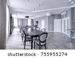 large dining table in the... | Shutterstock . vector #755955274