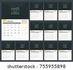 2018 calendar template  planner ... | Shutterstock .eps vector #755955898