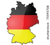 Glossy vector illustration showing the map of Germany with its flag over it. EPS file divided in layers, with flag, shadow and borders in separate layers, making it easy to customize version needed. - stock vector