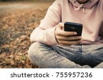 young teenager with mobile... | Shutterstock . vector #755957236