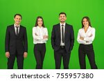 the four business people stand... | Shutterstock . vector #755957380
