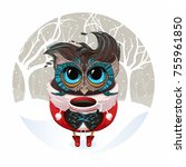christmas owl in santa costume... | Shutterstock .eps vector #755961850