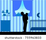 father carrying a child... | Shutterstock .eps vector #755963833