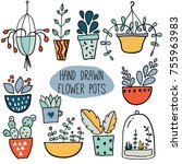 set with colorful hand drawn...   Shutterstock .eps vector #755963983