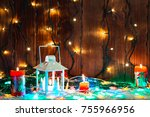 christmas candle lantern and... | Shutterstock . vector #755966956