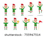 Set Of Female Christmas Elf...