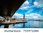view under the bridge to see... | Shutterstock . vector #755971084