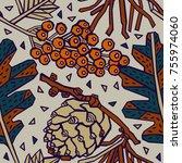 winter pattern design  berries... | Shutterstock .eps vector #755974060