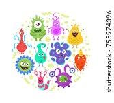 vector cartoon style circle... | Shutterstock .eps vector #755974396