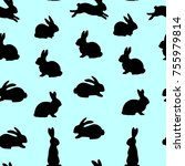 seamless pattern  black hares... | Shutterstock .eps vector #755979814