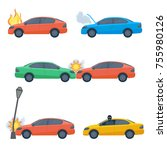set of damaged cars isolated on ... | Shutterstock .eps vector #755980126