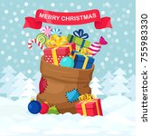 santa claus bag   sack with... | Shutterstock .eps vector #755983330