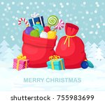 santa claus red bag  sack with... | Shutterstock .eps vector #755983699