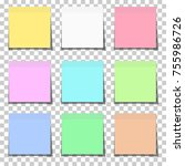 set of color paper sticky notes ... | Shutterstock .eps vector #755986726