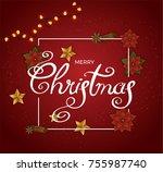 merry christmas vector. light... | Shutterstock .eps vector #755987740
