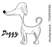 vector doggy. hand made sketch. ... | Shutterstock .eps vector #755995990