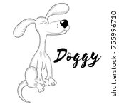 vector doggy. hand made sketch. ... | Shutterstock .eps vector #755996710
