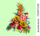 tropical  a composition of... | Shutterstock .eps vector #755997190