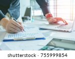 close up. hand business holding ... | Shutterstock . vector #755999854