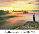 alone hiker in red cap stand on ... | Shutterstock . vector #756002758