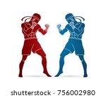 muay thai  thai boxing standing ... | Shutterstock .eps vector #756002980