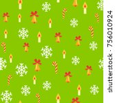 seamless pattern with jingle... | Shutterstock .eps vector #756010924